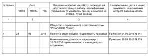 Пример внесения записи в трудовую о переименовании должности