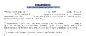 Заявление о продлении срока оставления без движения образец