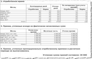 Расчет квартальной премии за фактически отработанное время