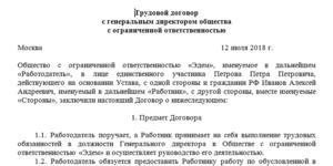 Трудовой договор с финансовым директором образец 2019