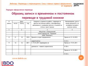 Запись в трудовой о переводе на декретную должность