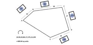 Калькулятор площади земельного участка неправильной пятиугольной формы
