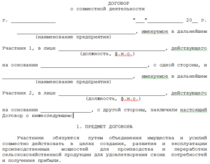 Образец договора о партнерстве и сотрудничестве между физическими лицами